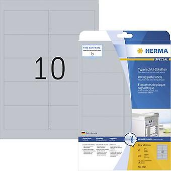 Herma 4223 Labels 96 x 50.8 mm Polyester film Silver 250 pc(s) Permanent Nameplates Laser, Copier
