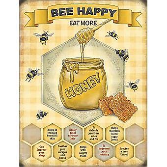 Abeja feliz, comer miel más pequeña acero firmar 200 Mm X 150 Mm