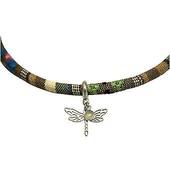 Dames - calcédoine BOHO - libellule - Collier - pendentif - argent 925 - AZTEC - - vert