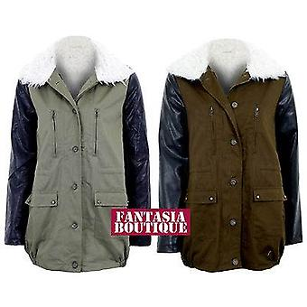 New Ladies pvc Faux Leather Sleeves Khaki Contrast Fur Lined Womens Jacket