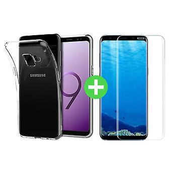 Stuff Certified® Samsung Galaxy S9 Plus selkeä TPU-kotelo + näytön suoja karkaistu lasi