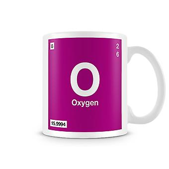 Scientific Printed Mug Featuring Element Symbol 008 O - Oxygen