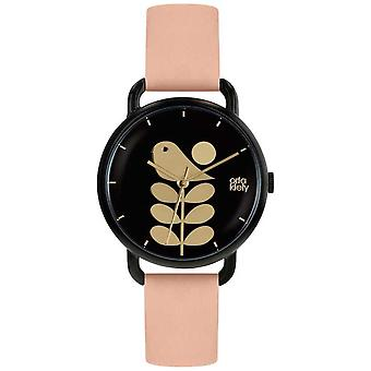 Orla Kiely vogel Print | Black Case | Bleke roze riem OK2236 Watch