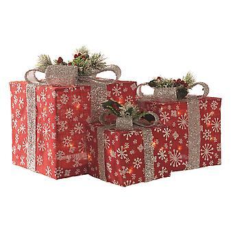 Festliche Produktionen Set 3 rote Schneeflocke Paket Weihnachtsschmuck