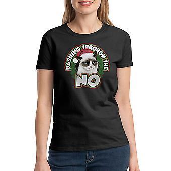 Grumpy Cat Dashing No Women's Black Funny T-shirt