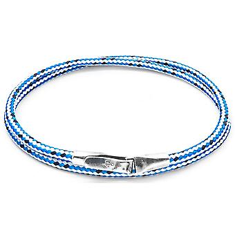 Anchor and Crew Liverpool Silver and Rope Bracelet - Blue Dash