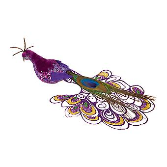 Decorazione 21cm ornamento dell'albero di Natale di pavone viola TRIXES