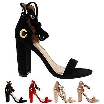 Naisten lohko korkokengät mokka nauha sitoa Mokka muoti Chic Sandaalit kengät UK 3-8