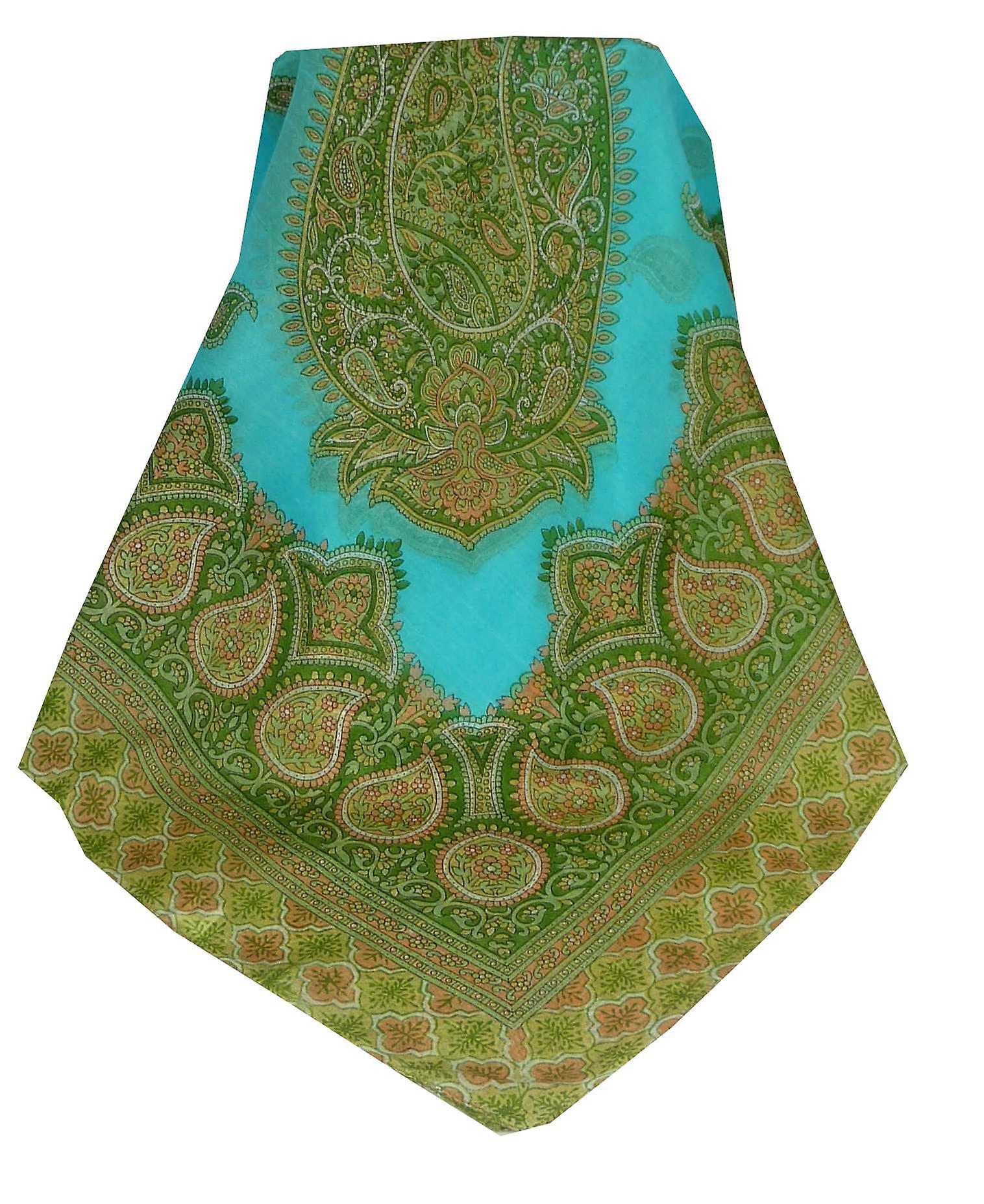 Mulberry Silk Traditional Square Scarf Salena Aquamarine & Green by Pashmina & Silk