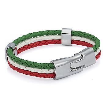 TRIXES によって - 国民の祭典の編みこみのイタリア三色ユニセックス手首ブレスレット