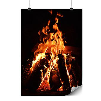 Matte or Glossy Poster with Fireplace Fire Nature | Wellcoda | *q955