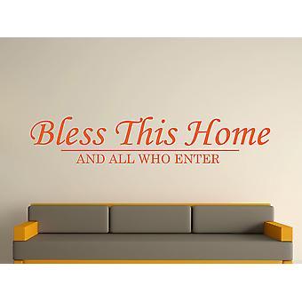 Bless This Home Wall Art Sticker - Orange