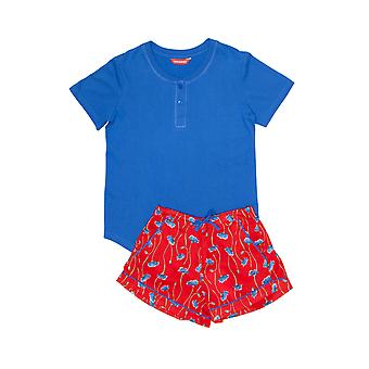 Minijammies 5381 Girl's Mia Red Floral Print Pyjama Set