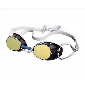 Malmsten Swedish Competition Swim Goggles- Gold Mirror Lenses - Black