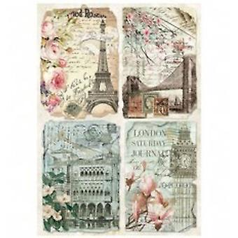 Stamperia Rice Paper A4 Vintage Postcards