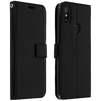 Vintage Series, flip wallet case with kickstand for Xiaomi Mi A2 - Black