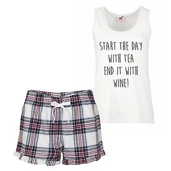 Start The Day With Tea End It With Wine Pink Tartan Pyjamas