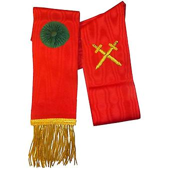 Knight Mason Hand Embroidered Sash Red