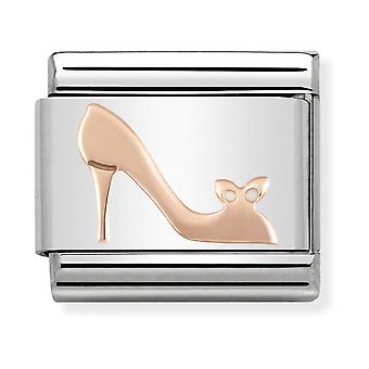 Nomination Classic High Heel Shoe Steel and 9k Rose Gold Link Charm 430104/17
