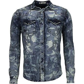 Denim- Slim Fit Long Sleeves - Army Motif - Blue