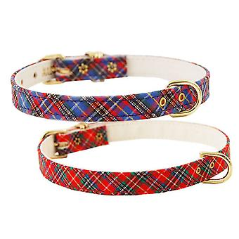 Pet Supply Imports 429 Plaid Scotch Adjustable Fancy Dog Collar 1/2