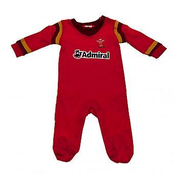 Wales RU Baby Sleepsuit With Stripes