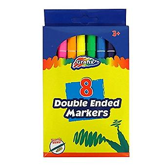 Grafix Double Ended Colouring Markers, Pack de 8