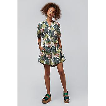 Louche Loeiza Tropical Revere Collar Tie Playsuit Vert
