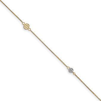 14k Dois tons polidos anel de primavera anel de ouro círculo puff com 1inch ramal tornozelaria de joias para mulheres