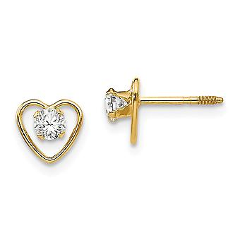 14k Yellow Gold Polished Screw back Post Earrings 3mm White Zircon Love Heart for boys or girls Earrings Measures 6x6mm