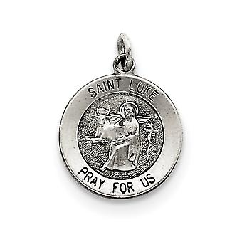 925 Sterling Silver Solid Satin Engravable Antique finish Antiqued Saint Luke Medal Pendant
