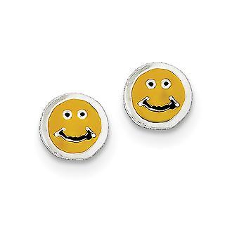 925 sterling sølv polert enameled happy face post øredobber smykker gaver til kvinner - 1,0 gram