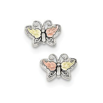 925 Sterling Silver Gift Boxed Polished and satin and 12k Butterfly Angel Wings Post Earrings Jewelry Gifts for Women
