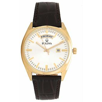 Bulova Mens Classic Gold Tone With Leather Strap 97C106 Watch