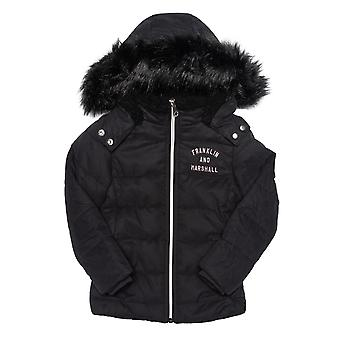 Infant Girls Franklin And Marshall Fur Hood Parker Jacket In Black- Zip