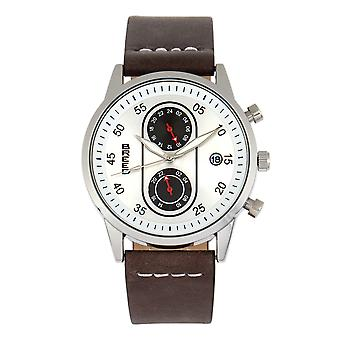 Race Andreas Leather-Band Watch w/ Date - Silver/Dark Brown