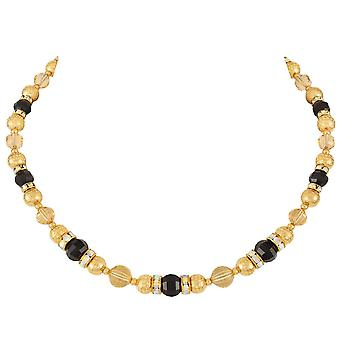 Eternal Collection Celebration Topaz And Black Crystal Gold Tone Necklace