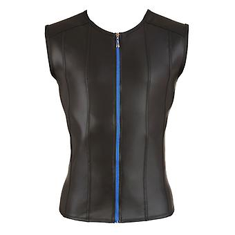 Shirt With Leather look And Long Zipper-Black