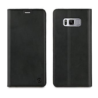 Samsung Galaxy S8 Case Plus Stylish Black Portfolio - Muvit