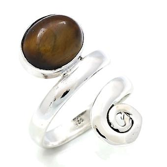 Tiger Eye ring 925 silver Sterling Silver kvinnors ring Brown justerbar (MRI 124-18)
