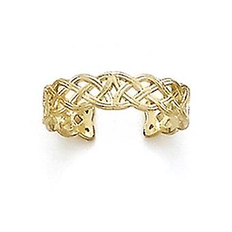 14k Yellow Gold Celtic Band Adjustable Toe Ring Jewelry Gifts for Women - .9 Grams