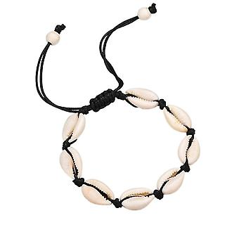Adjustable wristband with white shells-black