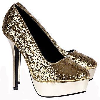 Onlineshoe Sparkly Glitter Platform Party High Heels - Gold Glitter Metallic
