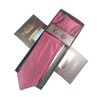 Tie, Cufflink & Hankerchief Set Exlusive Milan Collection 100% Hand Made Purple & White Polker Dots