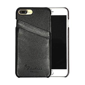 Til iPhone 8 PLUS, 7 PLUS Sag, Fashion Håndlavet ægte læder cover, sort