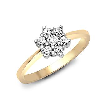 Jewelco London Ladies Solid 9ct Yellow Gold Cluster Set Round J SI 0.33ct Diamond Classic 7 Stone Cluster Ring 8.5mm