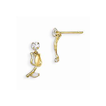 14kイエローゴールドマディK CZキュービックジルコニアの男の子や女の子チューリップダングルポストイヤリングのためのダイヤモンドをシミュレート