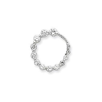 925 Sterling Silver Polished CZ Cubic Zirconia Simulated Diamond Circle Journey Pendant Necklace Jewelry Gifts for Women
