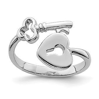 925 sterling sølv kjærlighet hjerte lås og nøkkel tå ring smykker gaver til kvinner