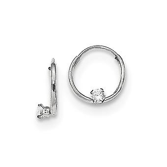 14k Madi K Ouro Branco Polido 2mm CZ Zircônia Cúbica Simulado Diamante Pequeno Aro Infinito Brincoss de Joias para Wo